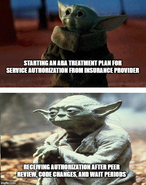 baby yoda old yoda | STARTING AN ABA TREATMENT PLAN FOR SERVICE AUTHORIZATION FROM INSURANCE PROVIDER RECEIVING AUTHORIZATION AFTER PEER REVIEW, CODE CHANGES, AN | image tagged in baby yoda old yoda | made w/ Imgflip meme maker