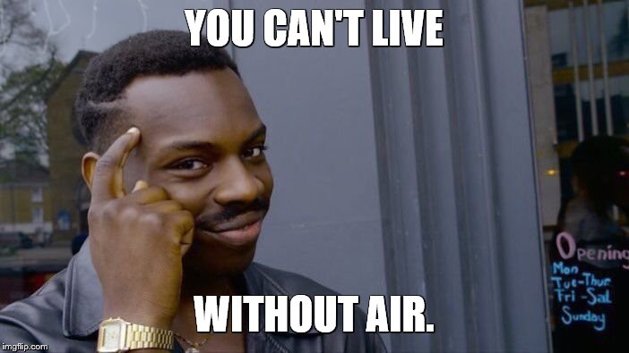 Roll Safe Think About It Meme | YOU CAN'T LIVE WITHOUT AIR. | image tagged in memes,roll safe think about it | made w/ Imgflip meme maker