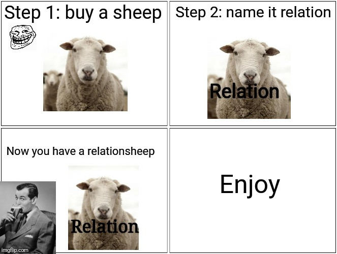 Dad jokes 101 | Step 1: buy a sheep Step 2: name it relation Now you have a relationsheep Enjoy Relation Relation | image tagged in memes,blank comic panel 2x2,relationships,sheep,funny memes | made w/ Imgflip meme maker