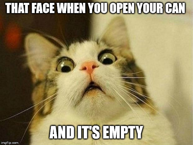 Scared Cat | THAT FACE WHEN YOU OPEN YOUR CAN AND IT'S EMPTY | image tagged in memes,scared cat,tobacco | made w/ Imgflip meme maker