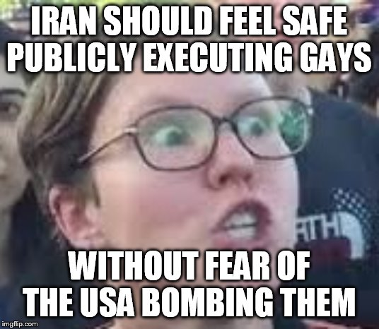 SJW |  IRAN SHOULD FEEL SAFE PUBLICLY EXECUTING GAYS; WITHOUT FEAR OF THE USA BOMBING THEM | image tagged in sjw | made w/ Imgflip meme maker