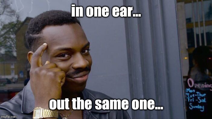Roll Safe Think About It Meme | in one ear... out the same one... | image tagged in memes,roll safe think about it | made w/ Imgflip meme maker