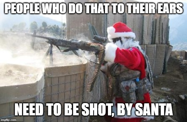 Hohoho Meme | PEOPLE WHO DO THAT TO THEIR EARS NEED TO BE SHOT, BY SANTA | image tagged in memes,hohoho | made w/ Imgflip meme maker