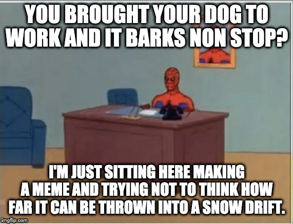 Spiderman Computer Desk | YOU BROUGHT YOUR DOG TO WORK AND IT BARKS NON STOP? I'M JUST SITTING HERE MAKING A MEME AND TRYING NOT TO THINK HOW FAR IT CAN BE THROWN INT | image tagged in memes,spiderman computer desk,spiderman | made w/ Imgflip meme maker