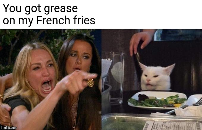 You got grease on my French fries | image tagged in memes,woman yelling at cat | made w/ Imgflip meme maker