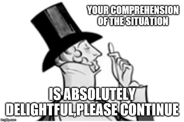 elitist | YOUR COMPREHENSION OF THE SITUATION IS ABSOLUTELY DELIGHTFUL,PLEASE CONTINUE | image tagged in elitist | made w/ Imgflip meme maker