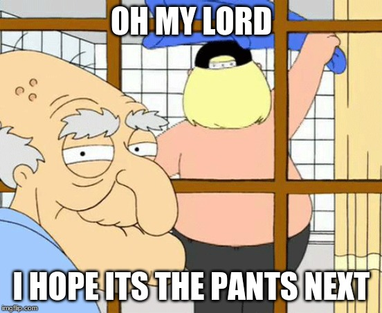 in heaven |  OH MY LORD; I HOPE ITS THE PANTS NEXT | image tagged in chris,herbert the pervert,family guy,memes,funny | made w/ Imgflip meme maker