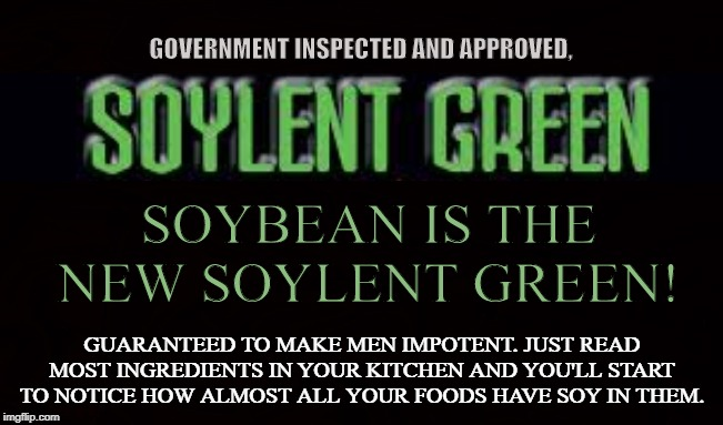 The Tofu Conspiracy | SOYBEAN IS THE NEW SOYLENT GREEN! GUARANTEED TO MAKE MEN IMPOTENT. JUST READ MOST INGREDIENTS IN YOUR KITCHEN AND YOU'LL START TO NOTICE HOW | image tagged in soylent green,soybean,tofu,impotent,kale,fda | made w/ Imgflip meme maker