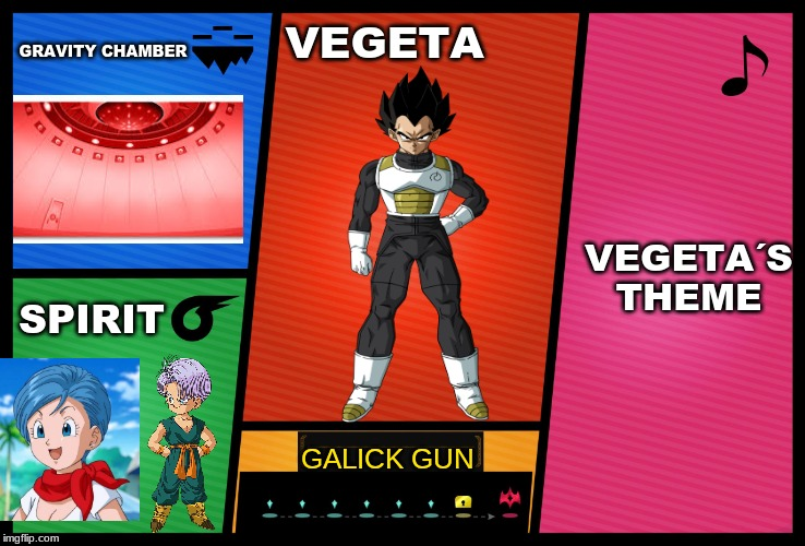 If Vegeta was in smash bros |  GRAVITY CHAMBER; VEGETA; VEGETA´S THEME; SPIRIT; GALICK GUN | image tagged in smash ultimate dlc fighter profile,vegeta,dragon ball z | made w/ Imgflip meme maker