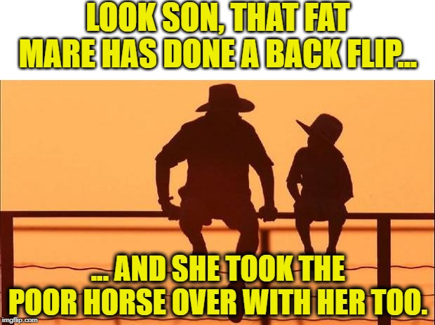cowboy father son | LOOK SON, THAT FAT MARE HAS DONE A BACK FLIP... ... AND SHE TOOK THE POOR HORSE OVER WITH HER TOO. | image tagged in cowboy father son | made w/ Imgflip meme maker
