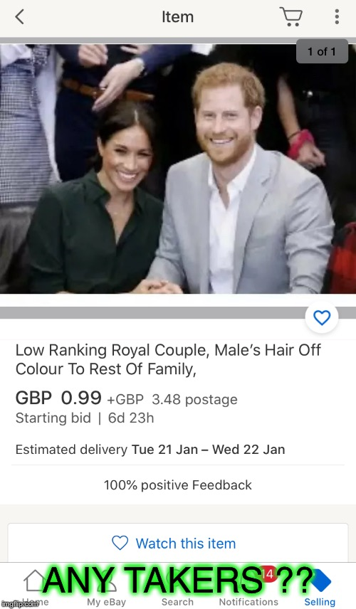 Queen Elizabeth II's EBay page ? |  ANY TAKERS ?? | image tagged in royals,prince harry,megan markle,ebay,out to tender,going cheep | made w/ Imgflip meme maker