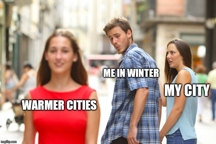 Seriously thinking of moving South | WARMER CITIES ME IN WINTER MY CITY | image tagged in memes,distracted boyfriend,winter,cold weather,city,warm weather | made w/ Imgflip meme maker