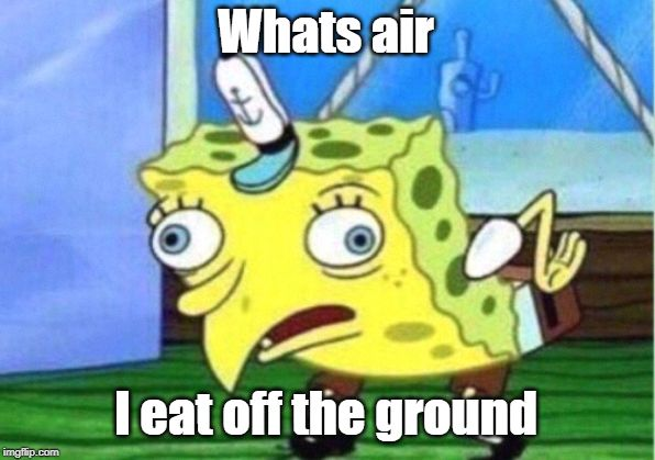 Whats air I eat off the ground | image tagged in memes,mocking spongebob | made w/ Imgflip meme maker