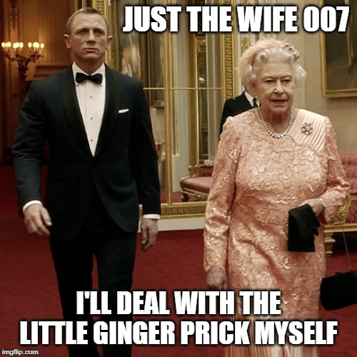 Prince Harry Meghan Merkle |  JUST THE WIFE 007; I'LL DEAL WITH THE LITTLE GINGER PRICK MYSELF | image tagged in queen elizabeth  james bond 007,prince harry,meghan markle,funny meme,funny memes,funny | made w/ Imgflip meme maker