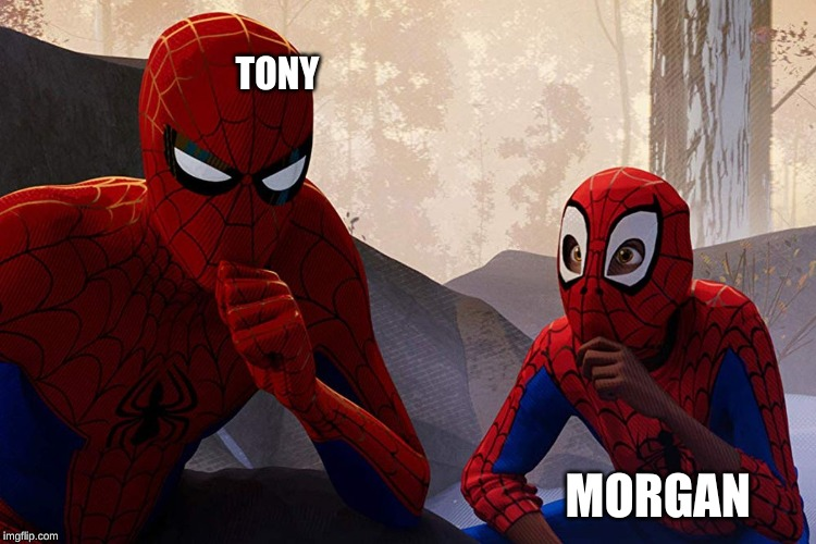 Learning from spiderman | TONY MORGAN | image tagged in learning from spiderman | made w/ Imgflip meme maker