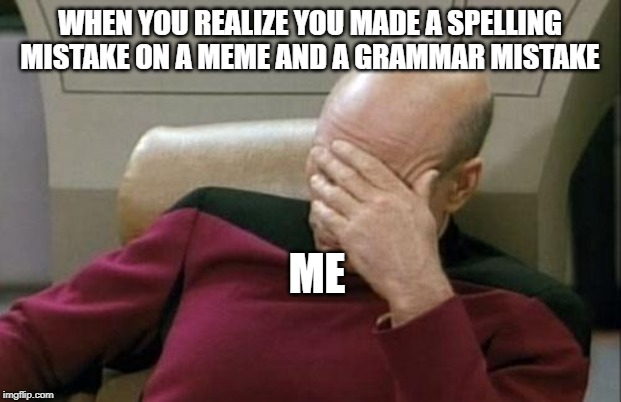 Captain Picard Facepalm Meme | WHEN YOU REALIZE YOU MADE A SPELLING MISTAKE ON A MEME AND A GRAMMAR MISTAKE ME | image tagged in memes,captain picard facepalm | made w/ Imgflip meme maker