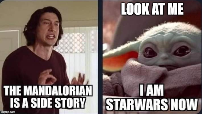 Kylo Ren Yelling at Baby Yoda About The Mandalorian Show | LOOK AT ME | image tagged in baby yoda,kylo ren,star wars | made w/ Imgflip meme maker