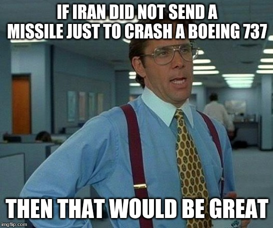 In memory of all the people died on the Ukraine International Airlines flight 752 | IF IRAN DID NOT SEND A MISSILE JUST TO CRASH A BOEING 737 THEN THAT WOULD BE GREAT | image tagged in memes,that would be great,ukrainian,missile,iran,plane crash | made w/ Imgflip meme maker