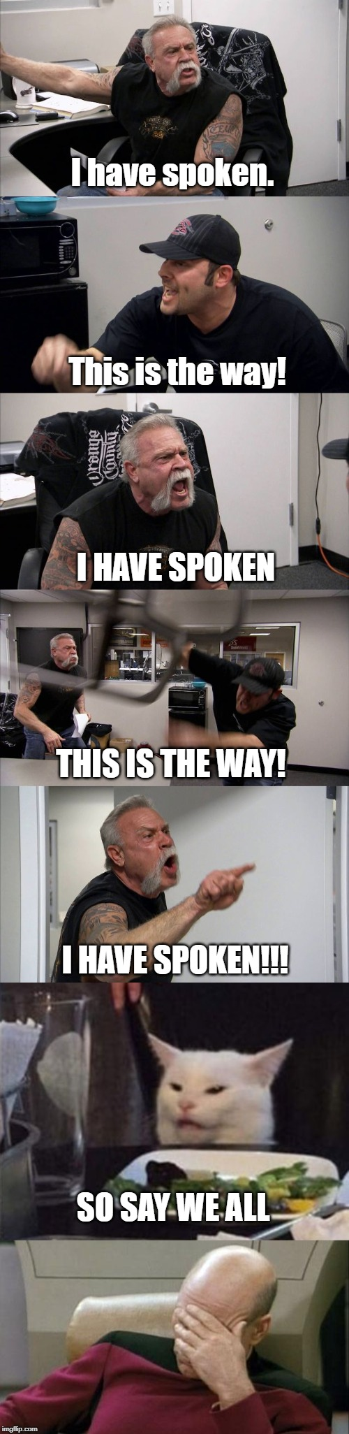 I have spoken. This is the way! I HAVE SPOKEN THIS IS THE WAY! I HAVE SPOKEN!!! SO SAY WE ALL | image tagged in memes,captain picard facepalm,american chopper argument,angry lady cat | made w/ Imgflip meme maker