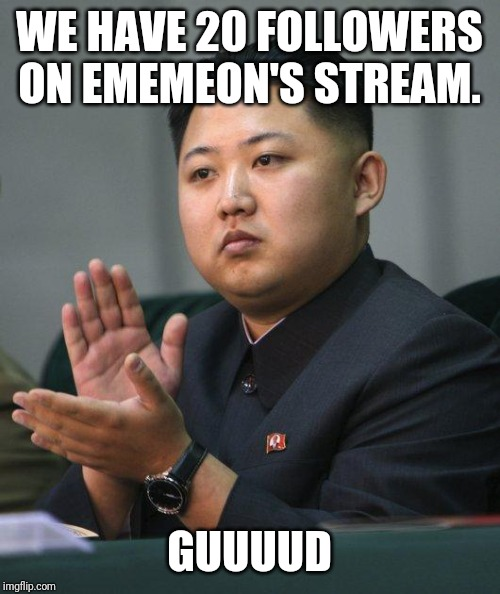 Kim Jong Un |  WE HAVE 20 FOLLOWERS ON EMEMEON'S STREAM. GUUUUD | image tagged in kim jong un | made w/ Imgflip meme maker