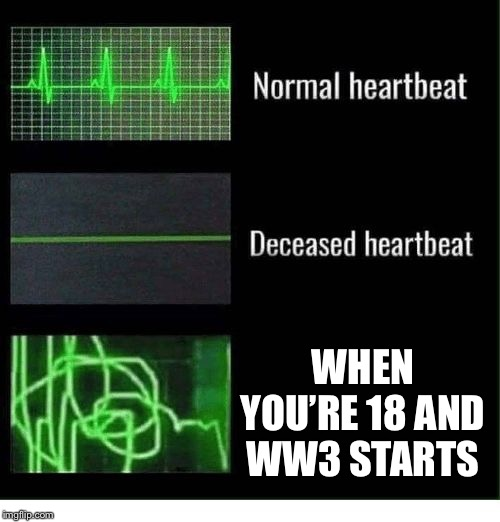 normal heartbeat deceased heartbeat | WHEN YOU'RE 18 AND WW3 STARTS | image tagged in normal heartbeat deceased heartbeat | made w/ Imgflip meme maker
