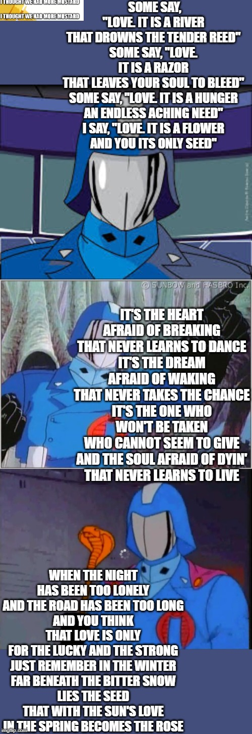 "Cobra Commander sings ""The Rose"" 