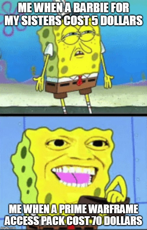 ME WHEN A BARBIE FOR MY SISTERS COST 5 DOLLARS ME WHEN A PRIME WARFRAME ACCESS PACK COST 70 DOLLARS | image tagged in spongebob money | made w/ Imgflip meme maker
