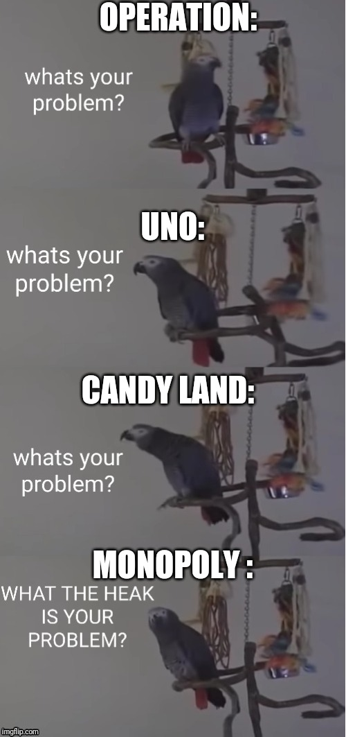 Playing bordgames: |  OPERATION:; UNO:; CANDY LAND:; MONOPOLY : | image tagged in what's your problem parrot,boardgames,uno,monopoly,operation,candy land | made w/ Imgflip meme maker