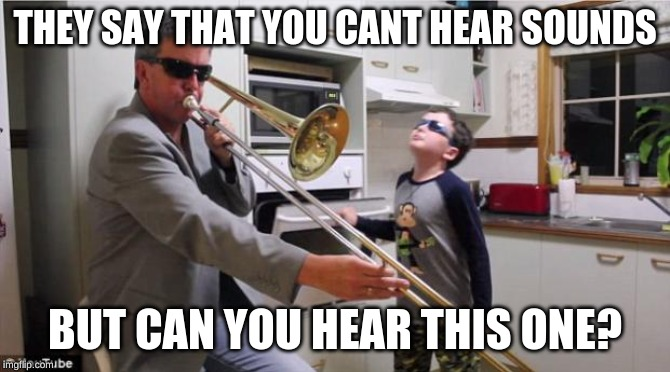 Trombone | THEY SAY THAT YOU CANT HEAR SOUNDS BUT CAN YOU HEAR THIS ONE? | image tagged in trombone | made w/ Imgflip meme maker