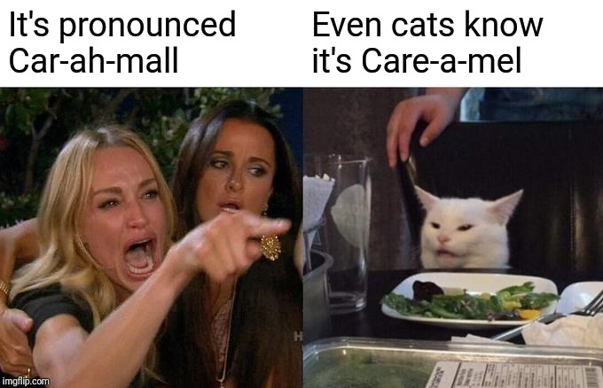 Woman Yelling At Cat Meme |  It's pronounced Car-ah-mall; Even cats know it's Care-a-mel | image tagged in memes,woman yelling at cat | made w/ Imgflip meme maker