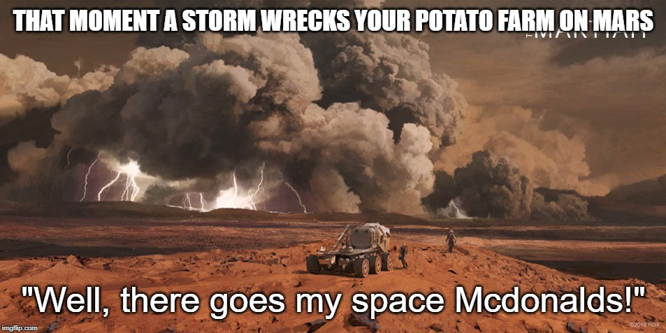 "THAT MOMENT A STORM WRECKS YOUR POTATO FARM ON MARS; ""Well, there goes my space Mcdonalds!"" 