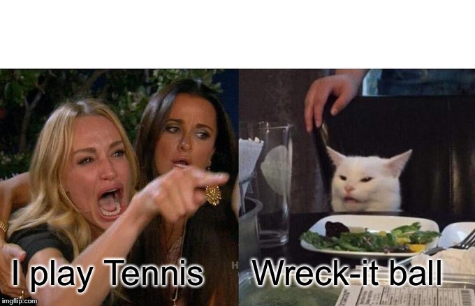 Woman Yelling At Cat Meme | I play Tennis Wreck-it ball | image tagged in memes,woman yelling at cat | made w/ Imgflip meme maker