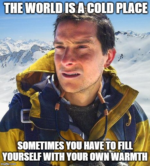 Bear Grylls |  THE WORLD IS A COLD PLACE; SOMETIMES YOU HAVE TO FILL YOURSELF WITH YOUR OWN WARMTH | image tagged in memes,bear grylls | made w/ Imgflip meme maker