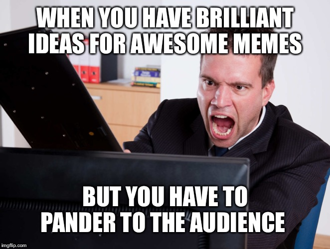 Angry Computer User | WHEN YOU HAVE BRILLIANT IDEAS FOR AWESOME MEMES BUT YOU HAVE TO PANDER TO THE AUDIENCE | image tagged in angry computer user | made w/ Imgflip meme maker