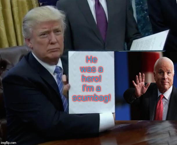 Trump finally says something truthful! |  He was a hero! I'm a scumbag! | image tagged in memes,trump bill signing,john mccain,scumbag republicans | made w/ Imgflip meme maker