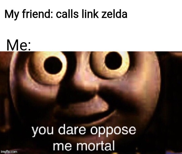 I hate it when people do that |  My friend: calls link zelda; Me: | image tagged in you dare oppose me mortal,zelda,link | made w/ Imgflip meme maker