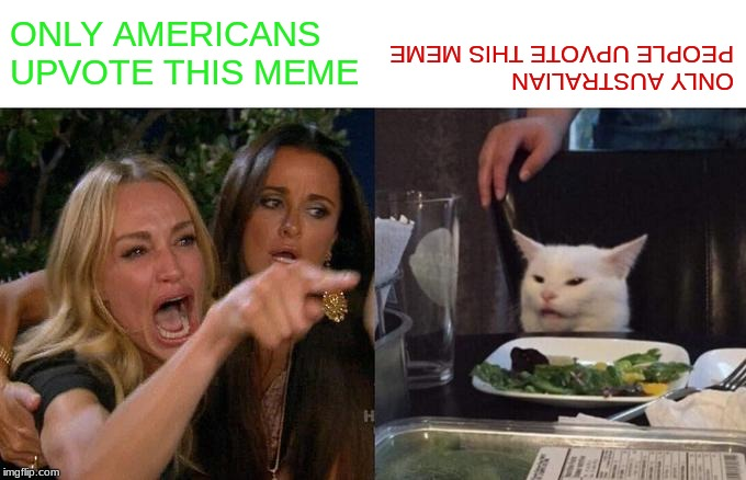 Woman Yelling At Cat Meme | ONLY AMERICANS UPVOTE THIS MEME ONLY AUSTRALIAN PEOPLE UPVOTE THIS MEME | image tagged in memes,woman yelling at cat | made w/ Imgflip meme maker