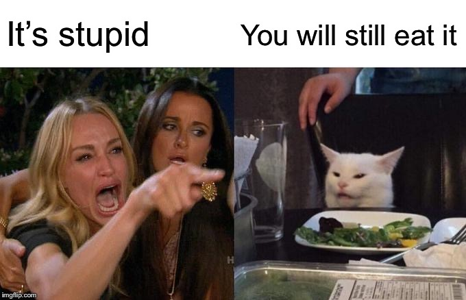 Woman Yelling At Cat Meme | It's stupid You will still eat it | image tagged in memes,woman yelling at cat | made w/ Imgflip meme maker