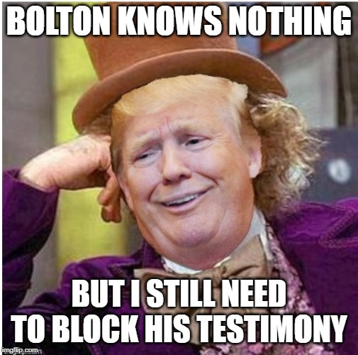 Wonka Trump | BOLTON KNOWS NOTHING BUT I STILL NEED TO BLOCK HIS TESTIMONY | image tagged in wonka trump | made w/ Imgflip meme maker