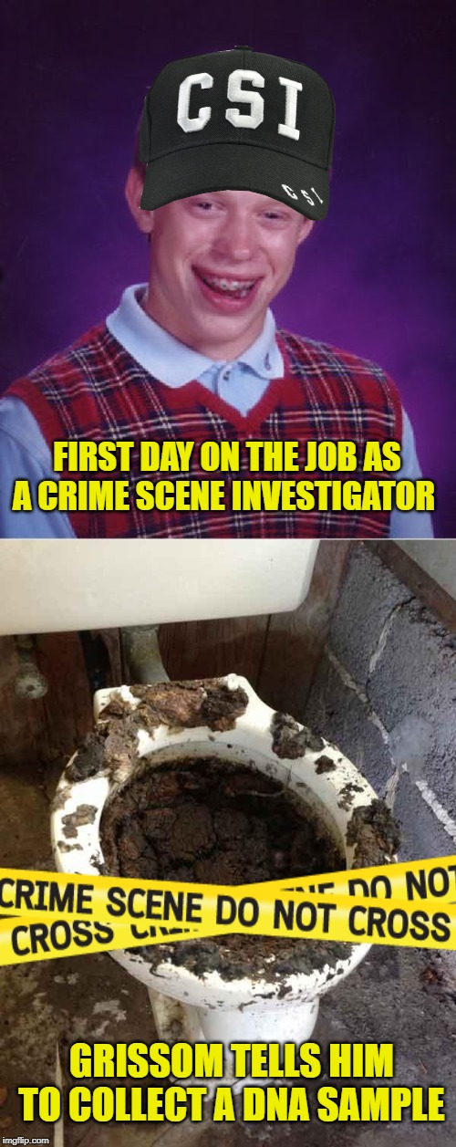 Crappy Job to Have | FIRST DAY ON THE JOB AS A CRIME SCENE INVESTIGATOR GRISSOM TELLS HIM TO COLLECT A DNA SAMPLE | image tagged in memes,bad luck brian,toilet,csi,crime,funny memes | made w/ Imgflip meme maker