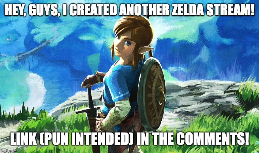 Link |  HEY, GUYS, I CREATED ANOTHER ZELDA STREAM! LINK (PUN INTENDED) IN THE COMMENTS! | image tagged in link | made w/ Imgflip meme maker