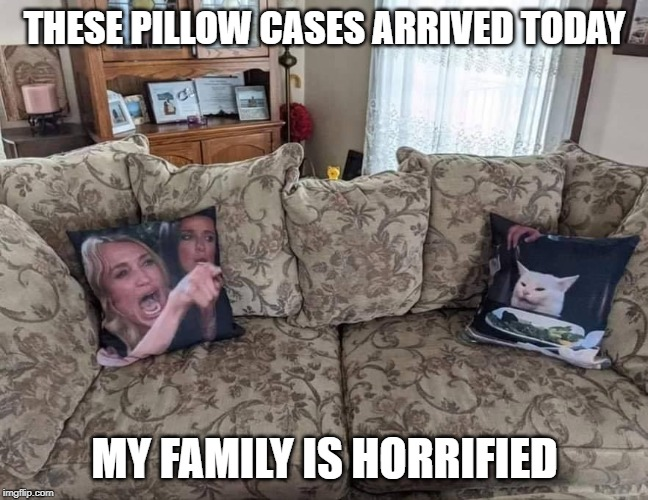 pillow cases from hell | THESE PILLOW CASES ARRIVED TODAY MY FAMILY IS HORRIFIED | image tagged in pillow cases,popular meme,punny | made w/ Imgflip meme maker