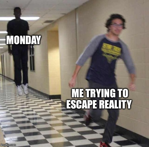 floating boy chasing running boy | MONDAY ME TRYING TO ESCAPE REALITY | image tagged in floating boy chasing running boy | made w/ Imgflip meme maker