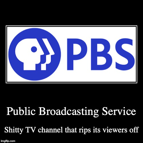 PBS | Public Broadcasting Service | Shitty TV channel that rips its viewers off | image tagged in funny,demotivationals,pbs | made w/ Imgflip demotivational maker