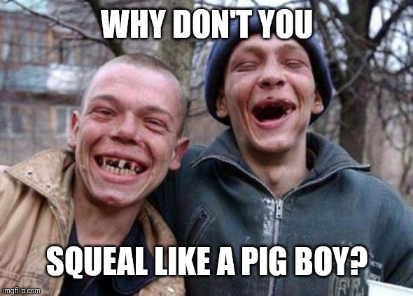 Ugly Twins | WHY DON'T YOU SQUEAL LIKE A PIG BOY? | image tagged in memes,ugly twins | made w/ Imgflip meme maker