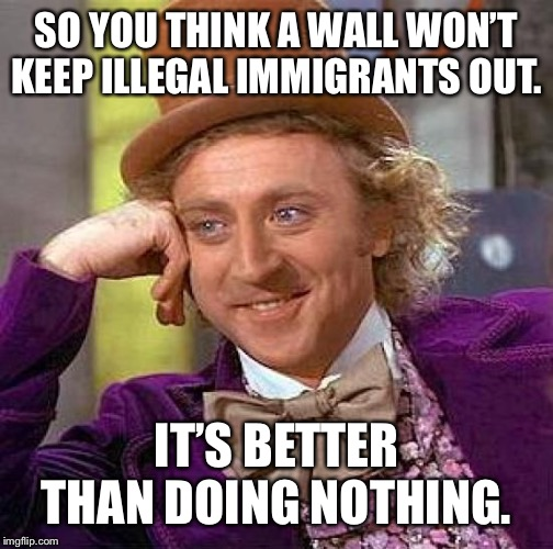 Creepy Condescending Wonka | SO YOU THINK A WALL WON'T KEEP ILLEGAL IMMIGRANTS OUT. IT'S BETTER THAN DOING NOTHING. | image tagged in memes,creepy condescending wonka | made w/ Imgflip meme maker