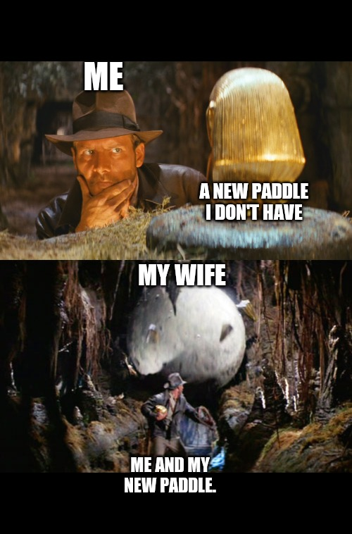 Too many Paddles | ME MY WIFE A NEW PADDLE I DON'T HAVE ME AND MY NEW PADDLE. | image tagged in indiana jones boulder,indiana jones idol | made w/ Imgflip meme maker