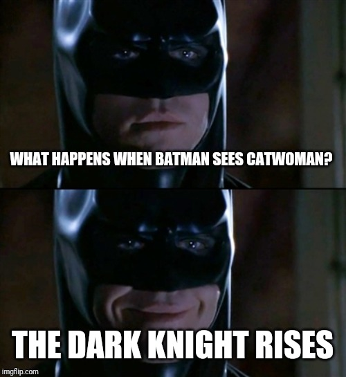 Batman Smiles Meme | WHAT HAPPENS WHEN BATMAN SEES CATWOMAN? THE DARK KNIGHT RISES | image tagged in memes,batman smiles | made w/ Imgflip meme maker