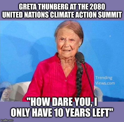 "Greta Thunberg |  GRETA THUNBERG AT THE 2080 UNITED NATIONS CLIMATE ACTION SUMMIT; ""HOW DARE YOU, I ONLY HAVE 10 YEARS LEFT"" 