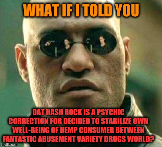 -Remember to solve up all domestic goods for it effect. | WHAT IF I TOLD YOU DAT HASH ROCK IS A PSYCHIC CORRECTION FOR DECIDED TO STABILIZE OWN WELL-BEING OF HEMP CONSUMER BETWEEN FANTASTIC ABUSEMEN | image tagged in what if i told you,matrix morpheus,hashtag,don't do drugs,smoke weed everyday,war on drugs | made w/ Imgflip meme maker